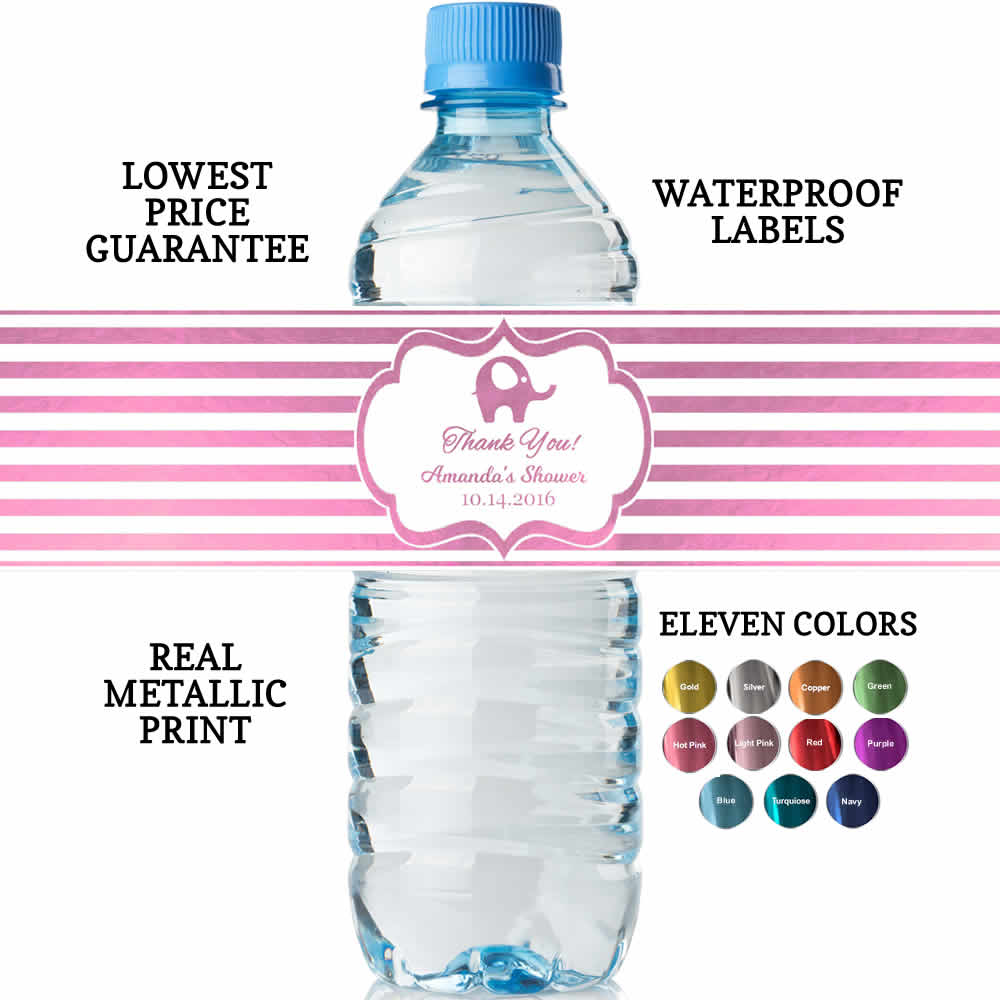 Water Bottle Labels Baby Girl Shower, REAL Metallic Print, Lowest ...