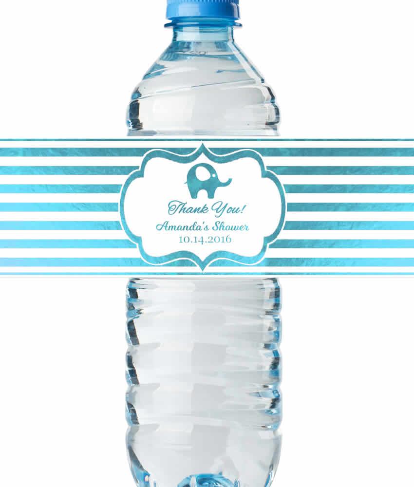Water Bottle Labels Baby Boy Shower Real Metallic Print
