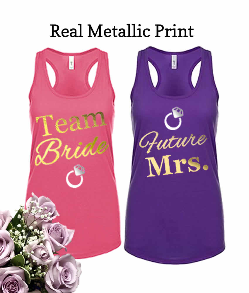 Personalize our Bridesmaid designs with your own text and art. Add each name or nickname. Tees, Tank Tops, Sweatshirts, Hats, and more.
