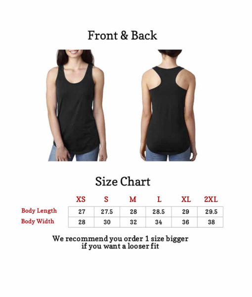 tank tops size chart