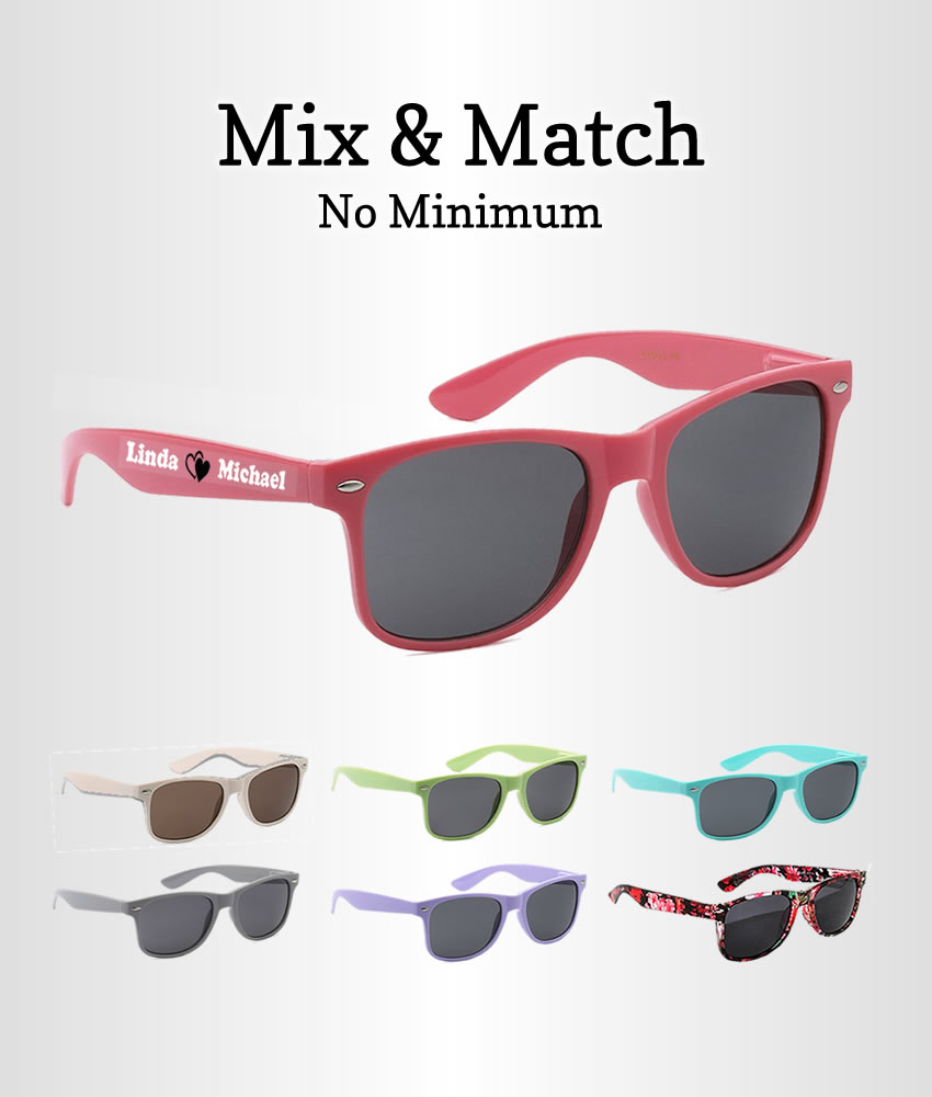 Party Favor Sunglasses In Bulk, Mix & Match - FREE Bride & Groom Pairs
