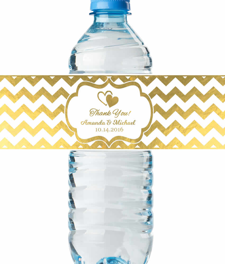 Bridal Shower Water Bottle Labels Real Metallic Print