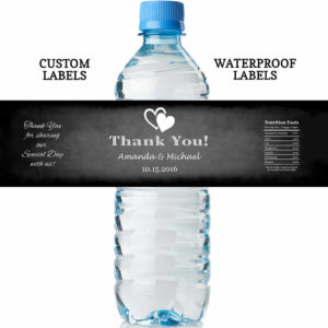 chalkboard wedding water bottle labels