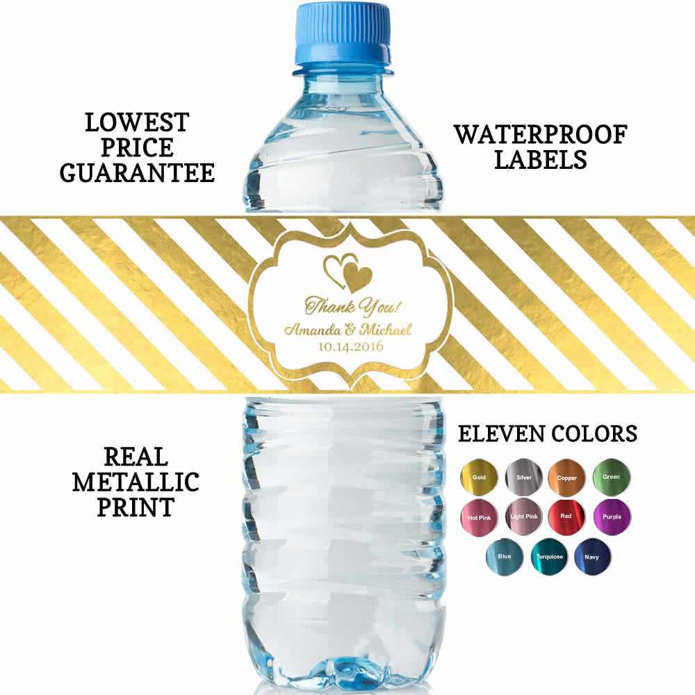 Custom Water Bottle Labels Real Metallic Print Lowest Price Guarantee