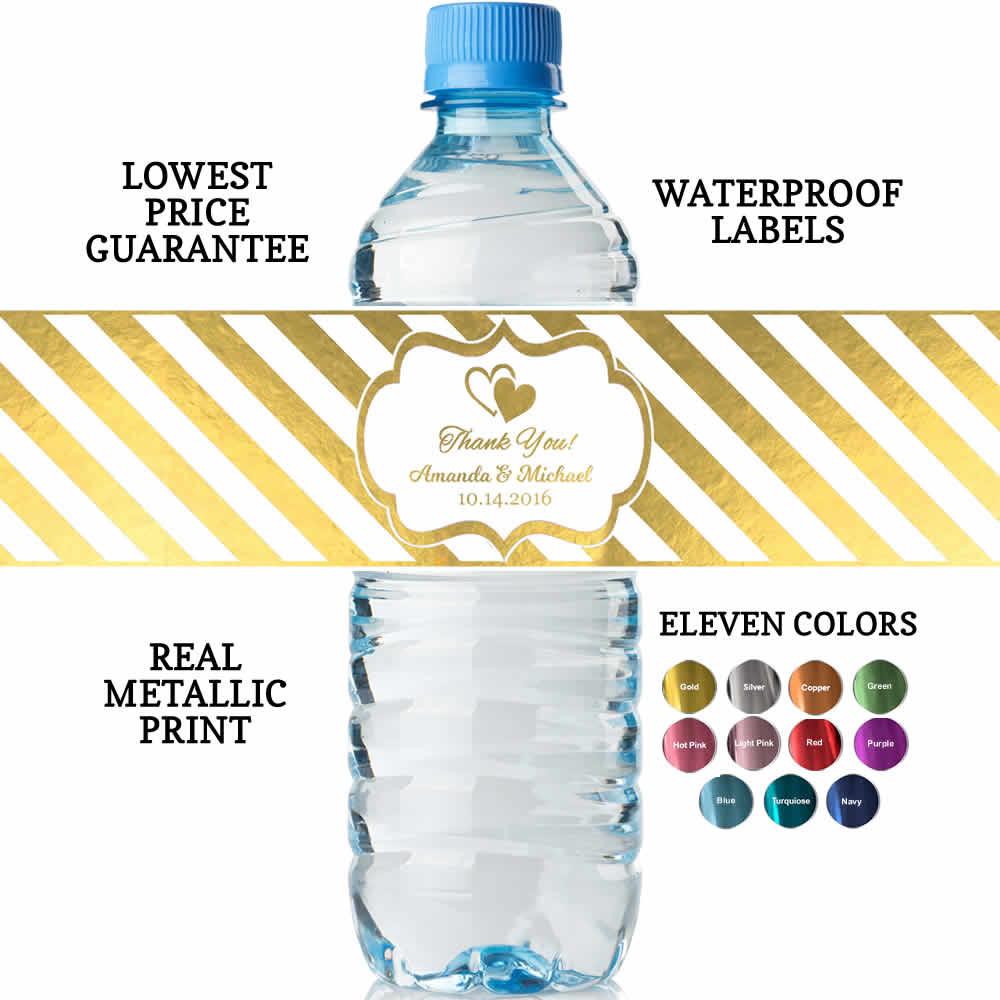 Custom Water Bottle Labels, REAL Metallic Print, Lowest