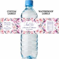 floral water bottle labels wedding
