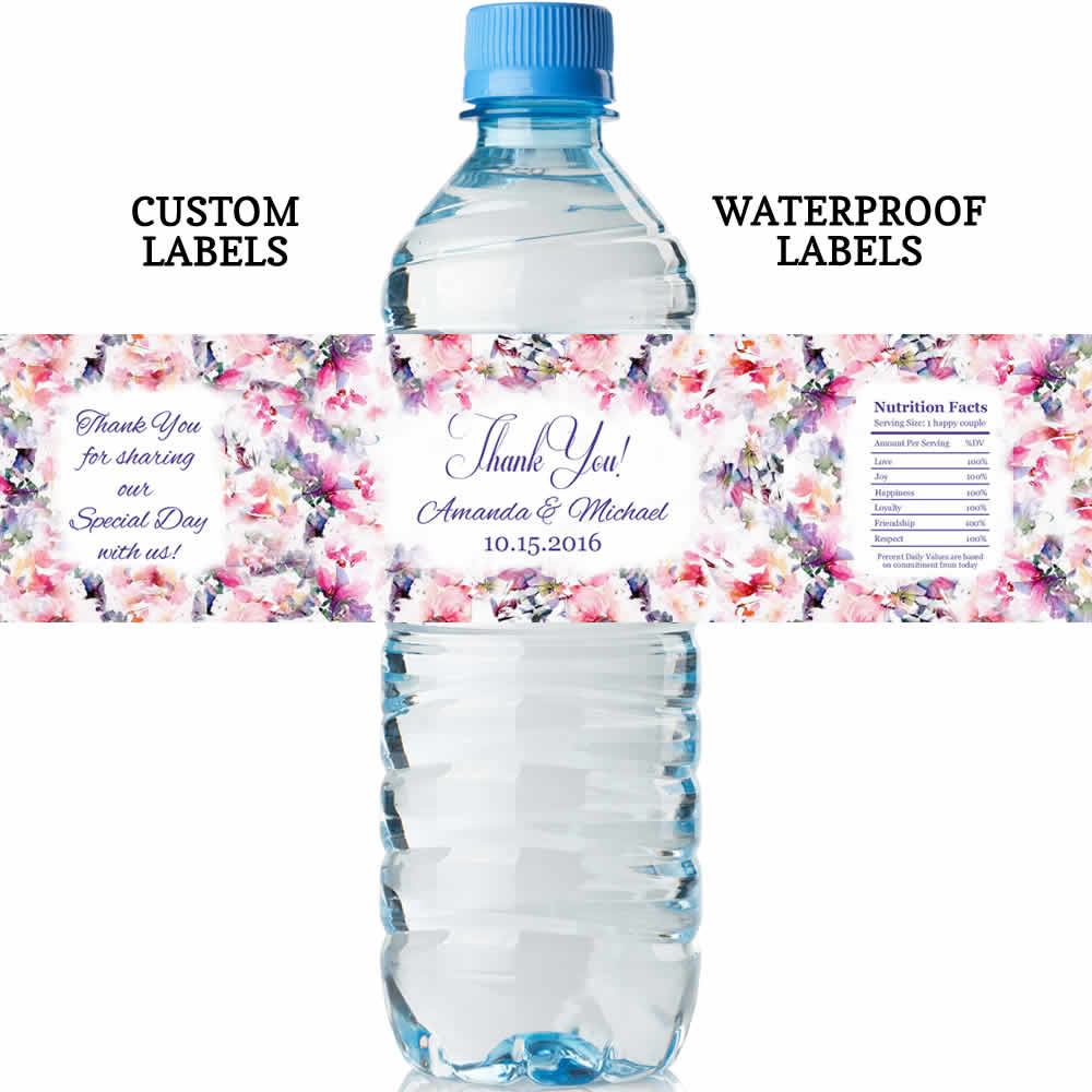 Wedding Water Bottle Labels.Floral Water Bottle Labels Wedding Lowest Price Water Proof Labels Free Customization