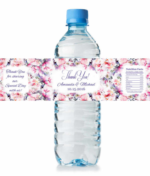 floral water bottle labels wedding