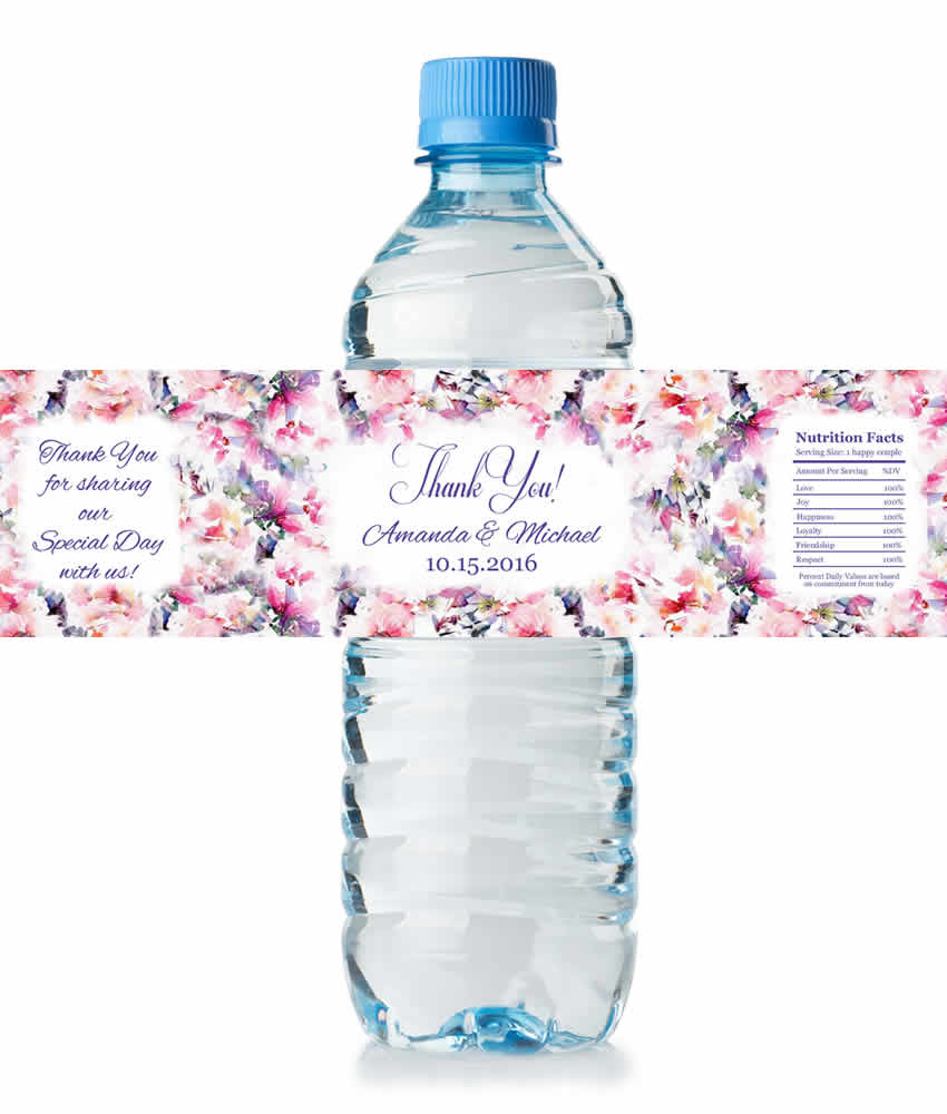 Floral Water Bottle Labels Wedding, Water Proof Labels ...