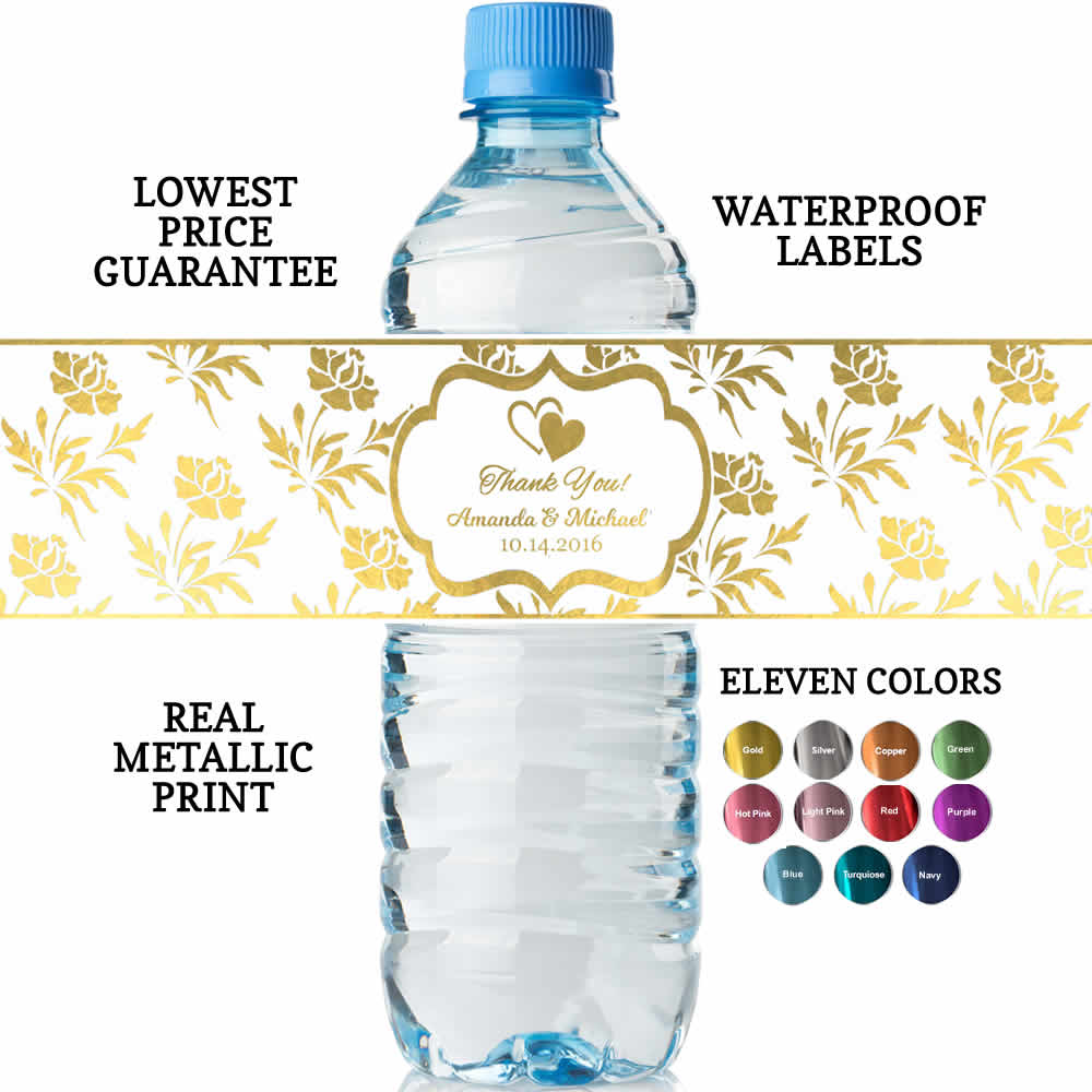 Wedding Water Bottle Labels.Personalized Wedding Water Bottle Labels Real Metallic Print Lowest Price Guarantee