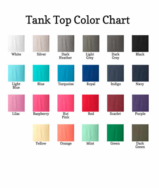 tank tops color chart