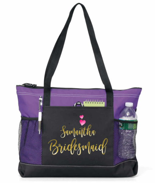 zippered tote with contents