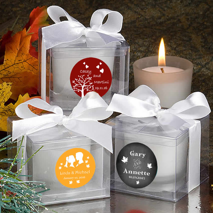 Autumn Wedding Candles Personalized Favors Free Assembly