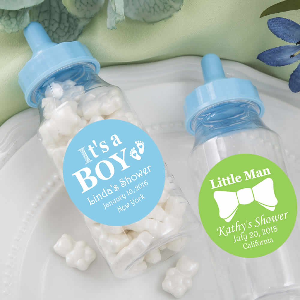 Baby shower favors for boys personalized baby bottle - Baby shower invitations and decorations ...