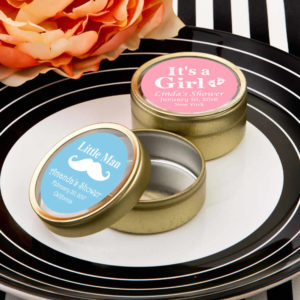 gold mint tins baby shower favors