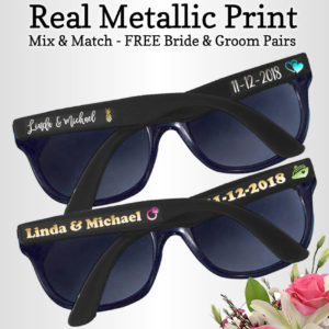 624100ef14 custom sunglasses no minimum. Real Metallic Print Wedding Sunglasses ...