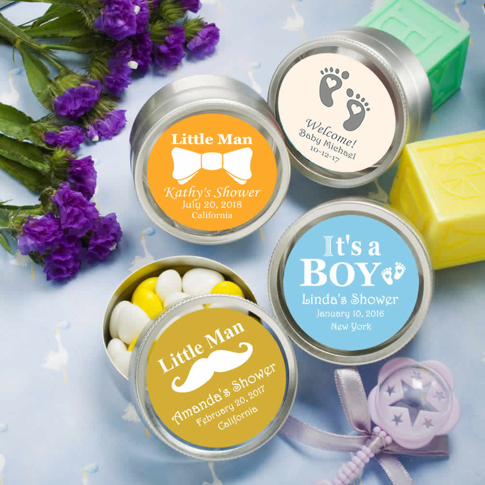 Baby Showers Gifts Price ~ Cheap baby shower favors silver mint tins boy free