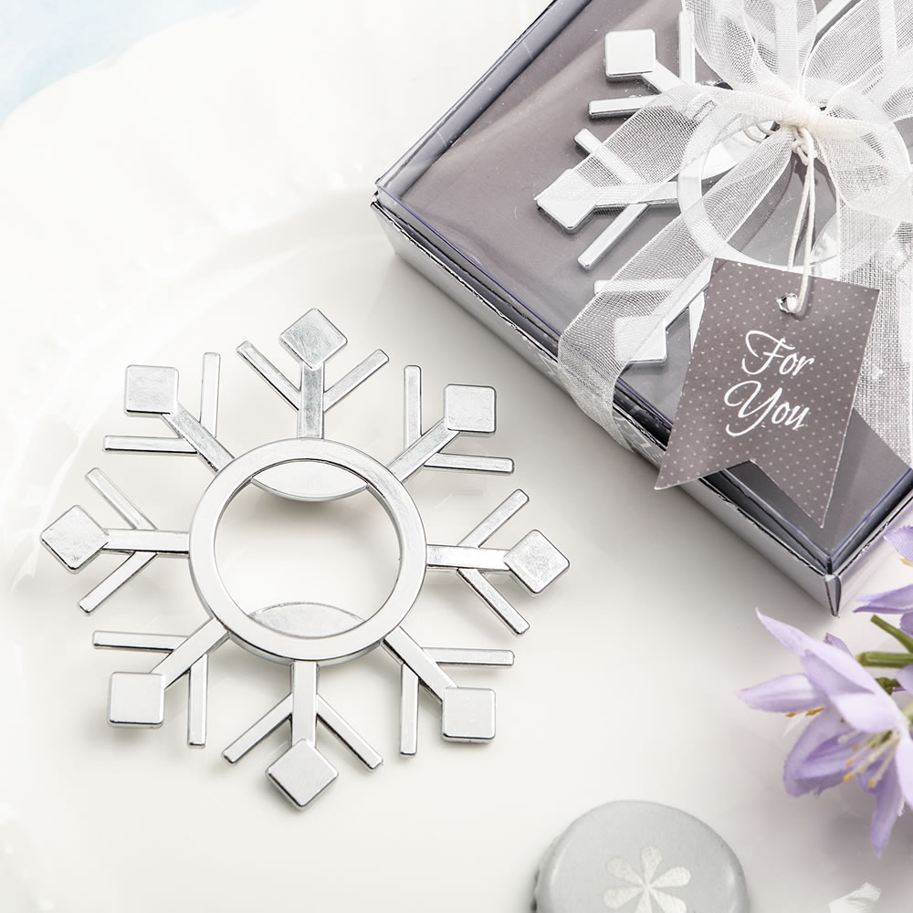 Snowflake Bottle Opener Silver - FREE RUSH + FREE Custom Tags