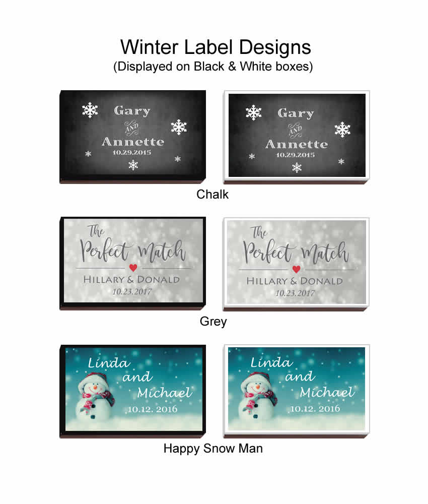 Winter Party Favors, Personalized Wedding Matches FREE Assembly