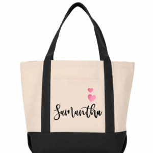 bridesmaid tote white black