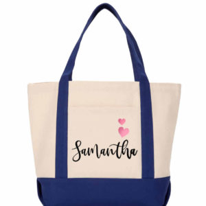 bridesmaid tote white navy
