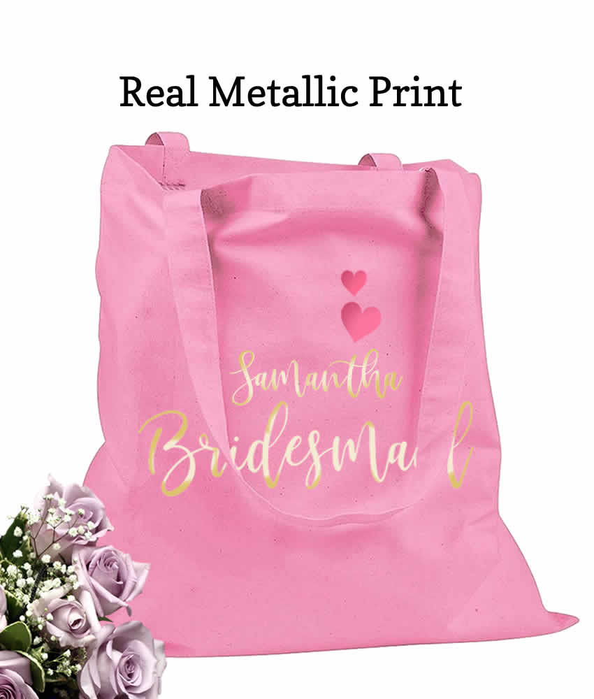 Bridesmaid Gift Bags, Pink Tote Bags - REAL Metallic Prints, 100 ...