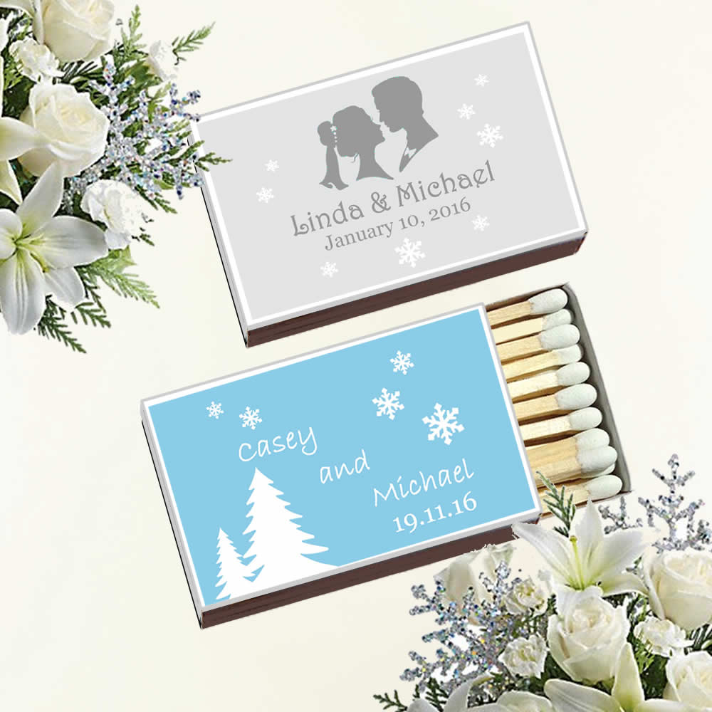 Outdoor Winter Wedding, Personalized Wedding Matches FREE Assembly