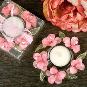 Pink Glass Flower Candle Holder