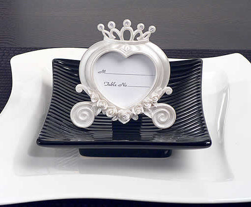 Wedding Coach Place Card Frame Pearl White - Holds 2\