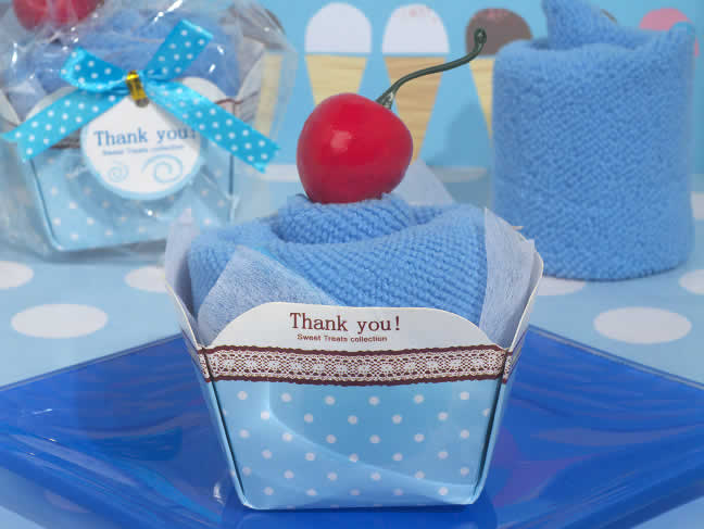 Cupcake Towel Favors Blue Color Free Rush With Custom Tags