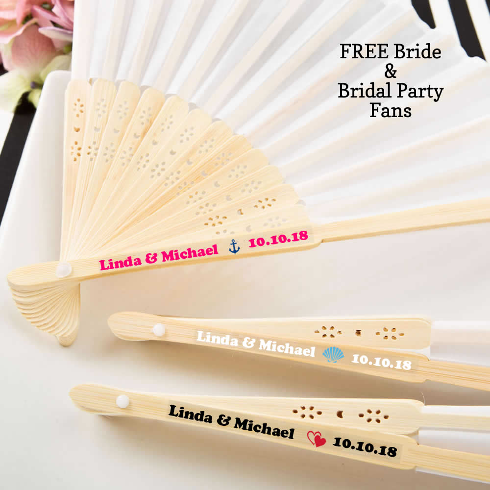Wedding Favor Fans - FREE Bride & Bridal Party Fans + FREE Assembly & Box