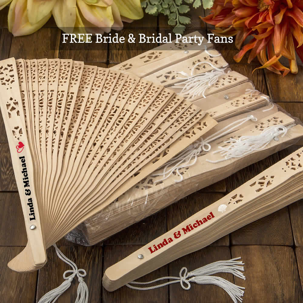 Personalized Wedding Fans Sandlewood - FREE Bride & Bridal Party Fans