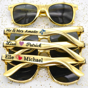 metallic gold wedding sunglasses