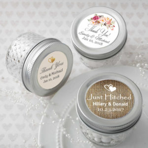 Personalized mason jars, mason jar wedding favors