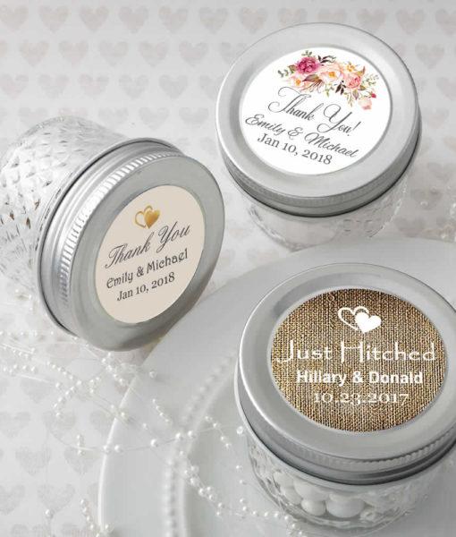 Personalized mason jars, mason jar wedding favors