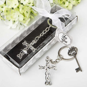 silver cross keychain