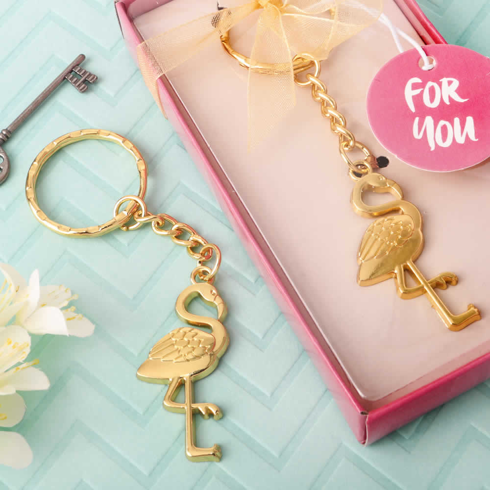 Flamingo Party Favors Key Chain Gold Finish Free Rush
