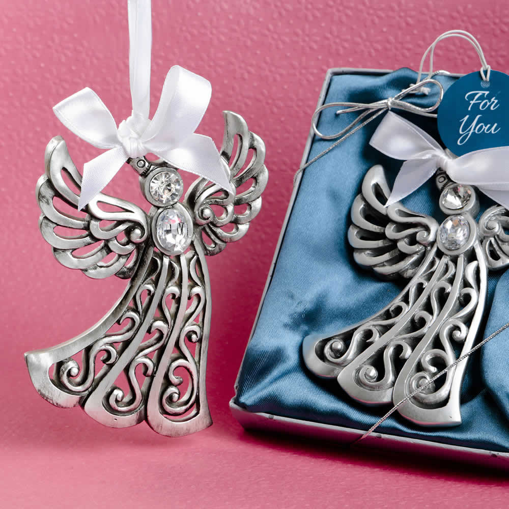 117 Angel Blue Christmas Ornament Baptism Shower: Silver Guardian Angel Ornament