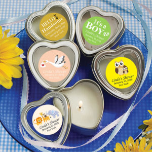 baby boy heart candle