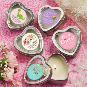baby girl heart candle