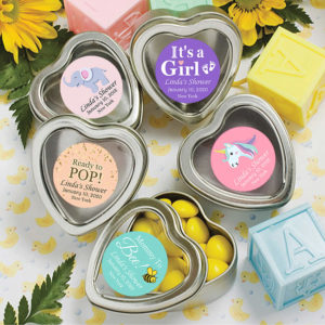 baby girl heart mint tin