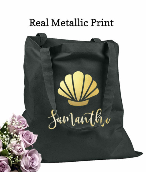 bridesmaid tote bags seashell