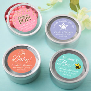 silver mint tins girl baby shower