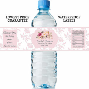 water bottle labels floral