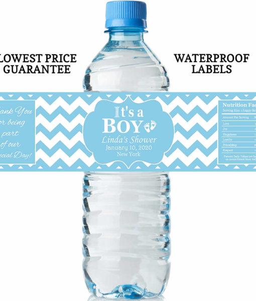 water bottle labels - it's a boy