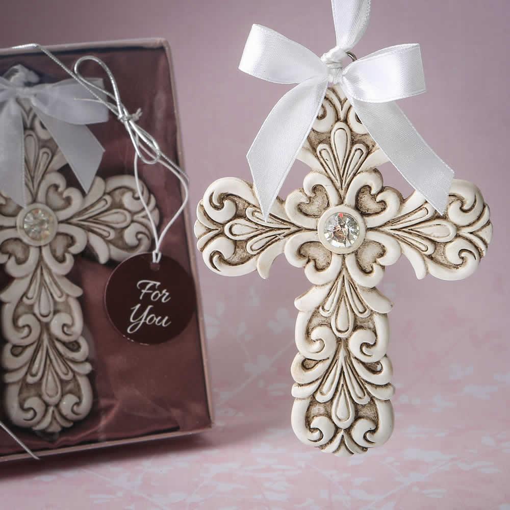 Cross Ornament For Girl Or Boy: Baroque Vintage Cross Themed Ornament