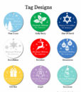 holiday party favors tag design chart silhouette