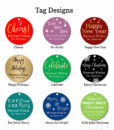 holiday party favors tag design chart text
