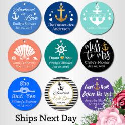 Nautical bridal shower favor tags