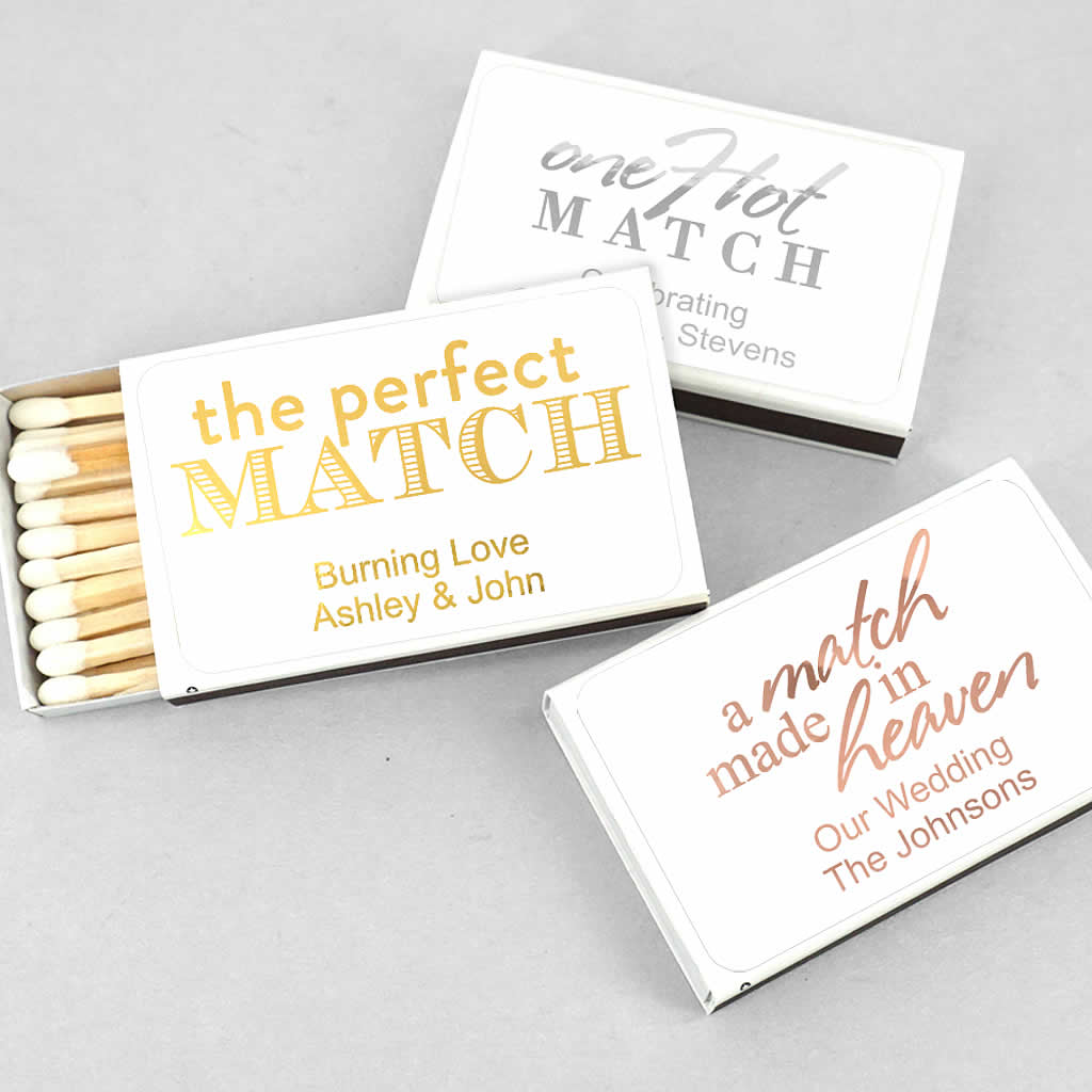 Custom Wedding Matches Metallic Foil Lowest Price
